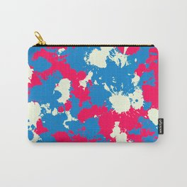Retro Wash Blue, Cream and Red Paint Splatter Carry-All Pouch
