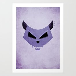 Purple Funny Evil Cat Skull Art Print