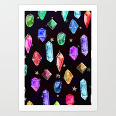 Crystals and Glitter Stars Art Print