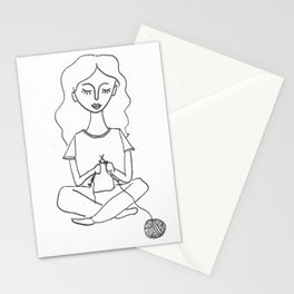 knitting in black and white Stationery Cards