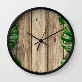 Tropical leaves Monstera. Wall Clock