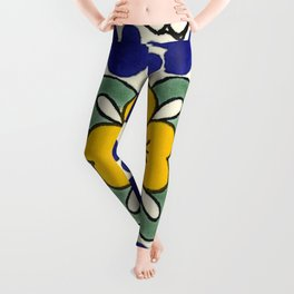 talavera mexican tile in yellow Leggings