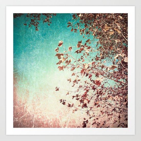 Autumn Leafs on Textured Blue Sky Art Print