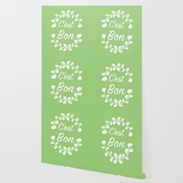 French Typography Print in Spring Green Wallpaper