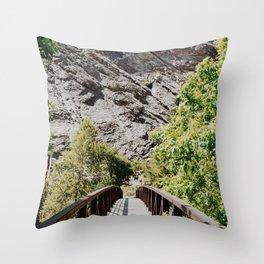 Bridge to the Mountains Throw Pillow