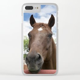 Closeup photo of brown horse looking over fence Clear iPhone Case