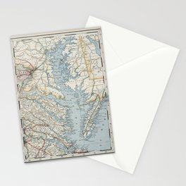 Vintage Map of the Chesapeake Bay (1901) Stationery Cards