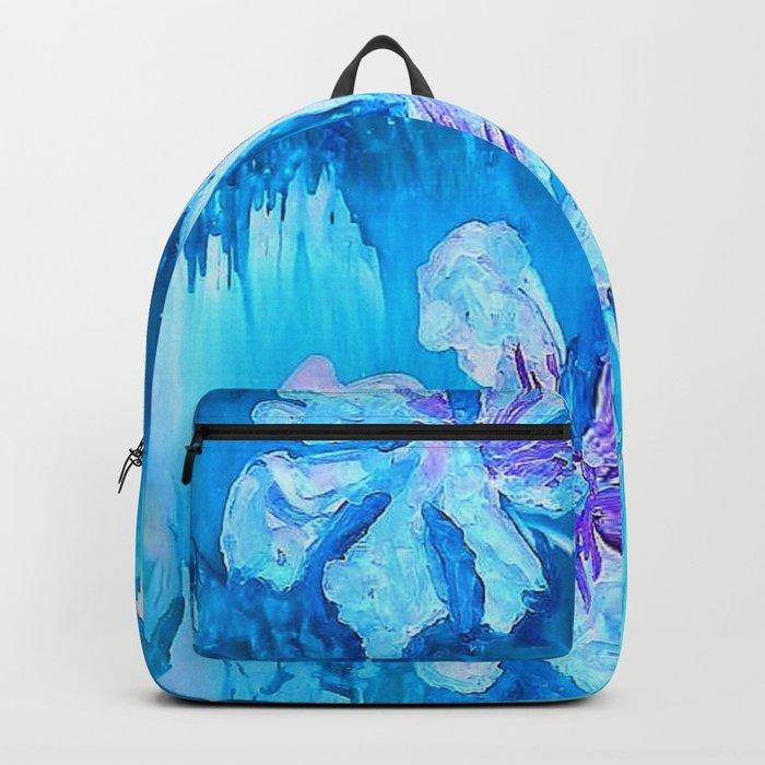 Blue encaustic flowers Backpack
