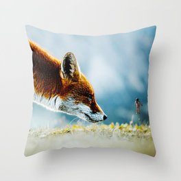 Close Encounters of Fox Kind Throw Pillow