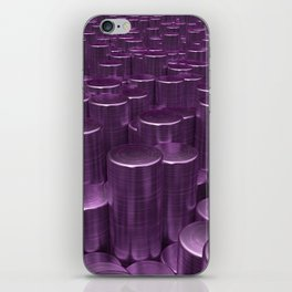 Pattern of purple brushed metal cylinders iPhone Skin