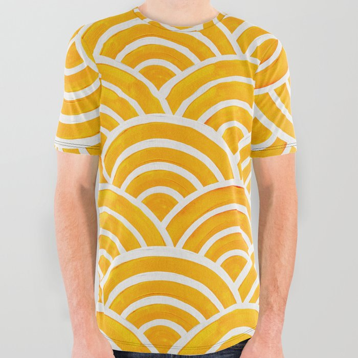 Japanese Seigaiha Wave – Marigold Palette All Over Graphic Tee