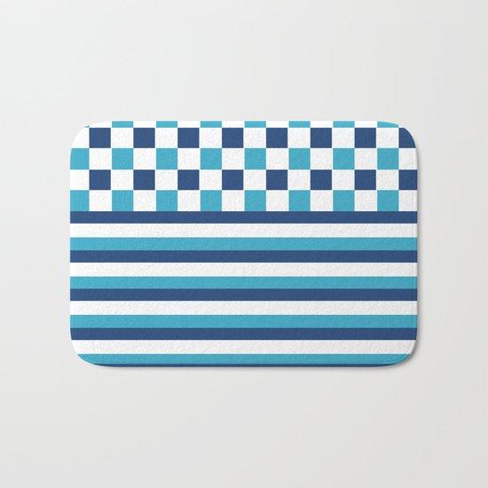 Blue summer stripes Bath Mat