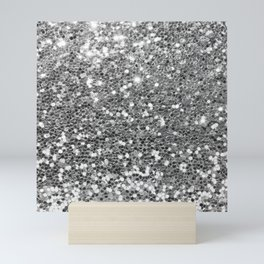 Chic faux silver abstract sequins glitter modern pattern Mini Art Print