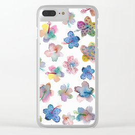 TROPICAL flower pattern, watercolor illustration (nature) Clear iPhone Case