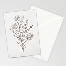 6-204-4, Cream & Mocha Brown, Floral Botanical art, Wild flower,   Plant Leaves, Boho decor, Stationery Cards