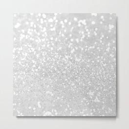Chic elegant glamour white faux glitter Metal Print