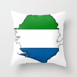 Sierra Leone Map with Sierra Leonean Flag Throw Pillow