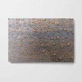 Water Drops on Wood 6 Metal Print