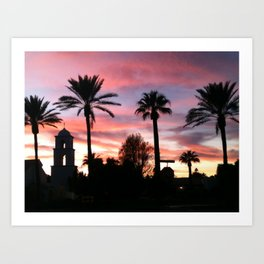 Church at sunset Art Print