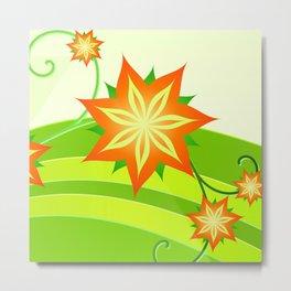 graphics summer flower floral sunflower star orange green yellow Metal Print