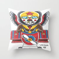 airplane Throw Pillows featuring Airplane by @VEIGATATTOOER