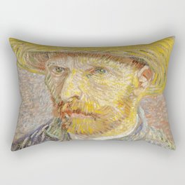 Self Portrait with Straw Hat by Vincent Van Gogh Rectangular Pillow