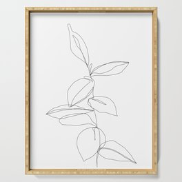 One line minimal plant leaves drawing - Berry Serving Tray