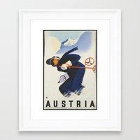 skiing Framed Art Prints featuring AUSTRIA/SKIING by Kathead Tarot/David Rivera