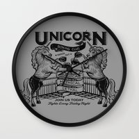 boxing Wall Clocks featuring Unicorn Boxing by Kellabell9
