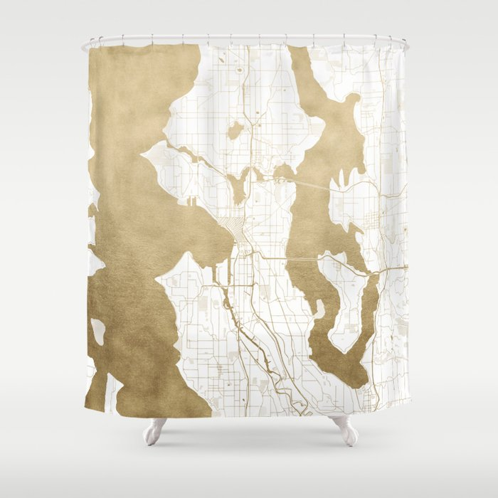 Seattle White And Gold Map Shower Curtain By Mapmaker
