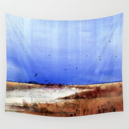 Vertical stripes over grassy landscape Wall Tapestry