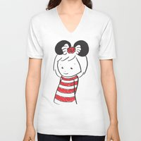 minnie V-neck T-shirts featuring Minnie 4 by Little Moon Dance