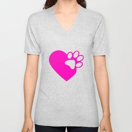 Cute Heart Paw Print product Funny Love Gift For Cat Owners Unisex V-Neck