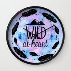 Wild at Heart - Boho Watercolor Feathers Wall Clock