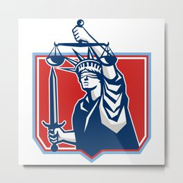 Statue of Liberty Wielding Sword Scales Justice Metal Print