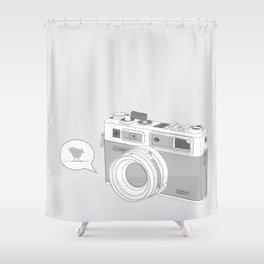 Yashica Camera - blue bird Shower Curtain