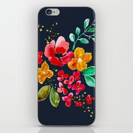 Red Poppy on Deep Navy iPhone Skin