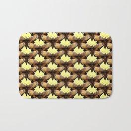Brown Moths On Pastel Yellow Bath Mat