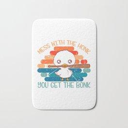 """Duck Baseball Shirt For """"Mess With The Honk You Get The Bonk"""" T-shirt Design Field Bat Home Run Bath Mat"""