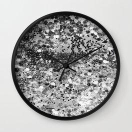 Sparkly Silver Glitter Confetti Wall Clock
