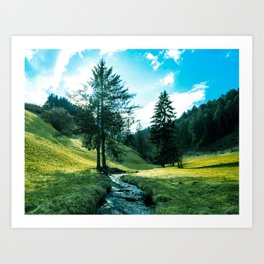 Green fields, trees and a magical brook Art Print