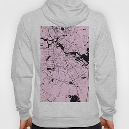 Amsterdam Pink on Black Street Map Hoody