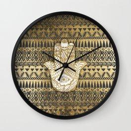 Faux Print Gold Hamsa Hand and Tribal Aztec Wall Clock