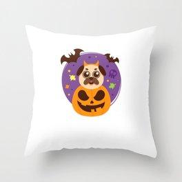 Cute Pug Halloween Throw Pillow