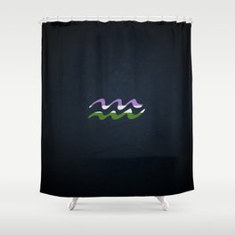 Genderqueer Pride Flag Aquarius Zodiac Sign Shower Curtain