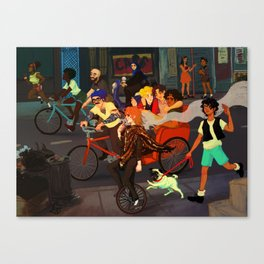 Les Amis on Parade Canvas Print