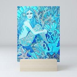 Mermaid Watercolor Coral Reef Mini Art Print