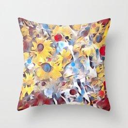 Sun flower fields (2016) Throw Pillow