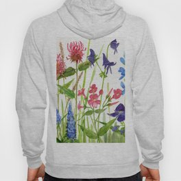 Garden Flowers Botanical Floral Watercolor on Paper Hoody