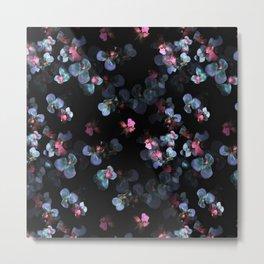 Blue pink delicate flowing pansies Metal Print
